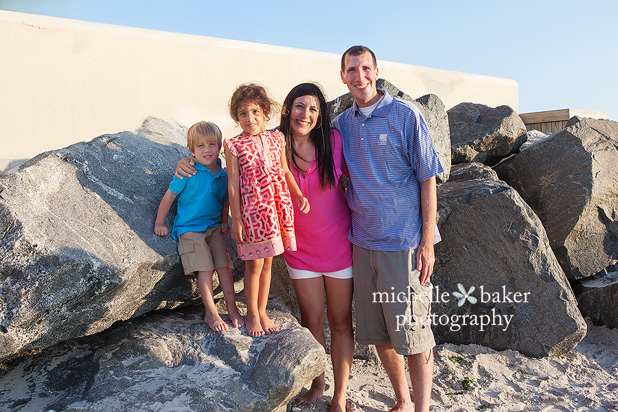 family of 4 on beach